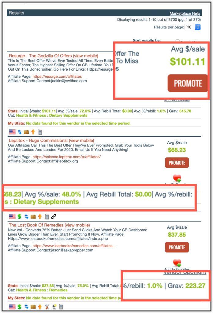 clickbank marketplace earnings