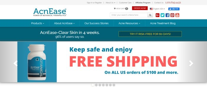 This screenshot of the home page for AcnEase has a gray header, a white search bar, a teal navigation bar, a teal advertisement bar, and a white main section with text in teal and red, next to a white bottle with a teal label for an AcnEase product.