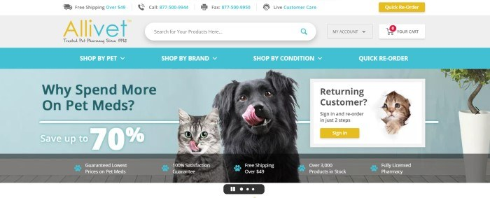 This screenshot of the home page for Allivet has a white header, a gray search bar, and a blue navigation bar with white text above a blue main section with a photo of a dog and a cat sitting next to each other with their tongues out, along with a text box and sign-in button for returning customers and an announcement for the opportunity to save up to 70% on pet medications.