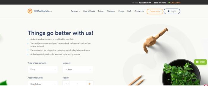 This screenshot of the home page for Best Writing Help has a dark header above a white navigation bar and a white main section with blue and black text on the left side of the page and a photo of two pencils next to a potted plant on the right side of the page.