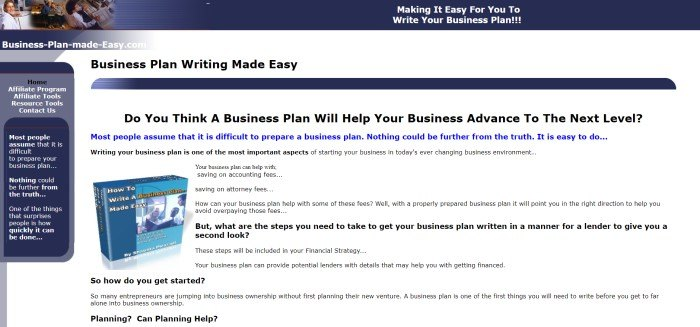 This screenshot of the home page for Business Plan Made Easy has a dark blue header with a photo of people working in an office in the left corner, above a white main section with blue and black text describing the e-Book, along with a photo of a blue book on the left side of the text.