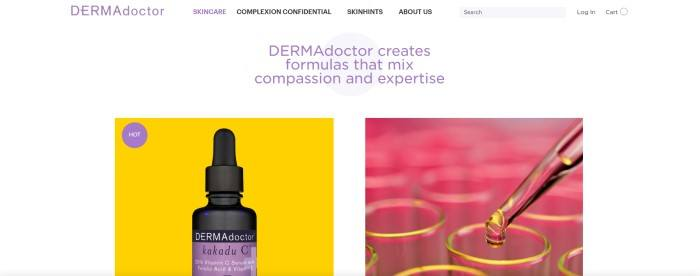 This screenshot of the home page for DERMAdoctor has a white background and header, with black and purple text throughout the page, a photo on the left side of the page with a yellow background behind a dropper bottle with a purple label and a photo on the right side of the page of a dropper dropping yellow liquid into rows of test tubes.