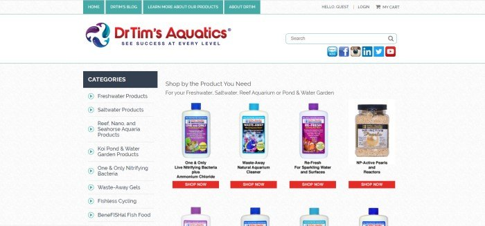 This screenshot of the home page for Dr. Tim's Aquatics has an aqua and white navigation bar above a white search bar and main section, which includes a list of category links on the left side of the page and a few rows of photos showing Dr.Tim's products with orange 'shop now' call to action buttons.