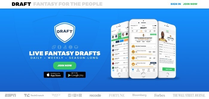 This screenshot of the home page for Draft has a blue background, a photo of three mobile devices showing with images of the app on the screens, a white logo, and white text announcing live fantasy drafts above a green call to action button.