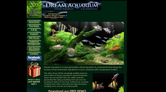 This screenshot of the home page for Dream Aquarium has a black background, a green side menu, and a photo in the center of the page showing a demo of the realistic-looking aquarium, above yellow text describing the program.