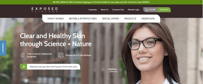 This screenshot of the home page for Exposed Skin Care has a green header, a black main navigation bar, a white secondary navigation bar, and a large photo of a smiling brunette woman in glasses next to white text describing clear and healthy skin through science and nature.