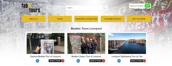 This screenshot of the home page for Fab 4 TaxiTours has a gray background, yellow and black navigation bar, and several photos showing different sites that customers can see on Beatles or Liverpool taxi tours, along with black call to action buttons.