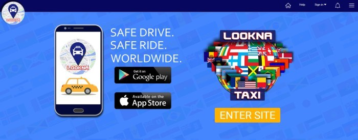 This screenshot of the home page for Lookna Taxi has a dark blue header, a medium blue background, a photo of a mobile device with the Lookna Taxi app loaded, white txt, two Lookna Taxi graphics in varying colors, two small black announcements for app stores carrying the app, and a yellow call to action button.