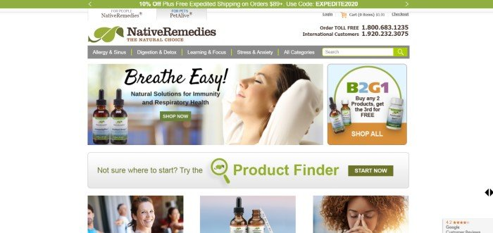 This screenshot of the home page for Native Remedies has a green sales bar above a page with a white background, a gray navigation and search bar, an announcement for essential oils that includes a photo of a smiling woman with her eyes closed, a sales announcement with an orange and blue background, and a row of photos indicating different products sold here.