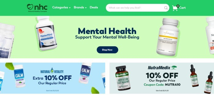 This screenshot of the home page for Natural Healthy Concepts includes a bright green navigation and search bar above a paler green background with images of nutritional supplement bottles, black text announcing mental health options, and a black call to action button, along with a section on the lower end of the page with two sales announcements in blue and green backgrounds.