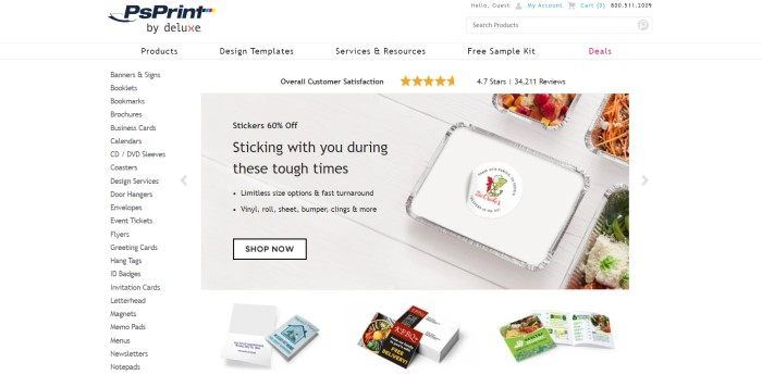 This screenshot of the home page for PsPrint has a white header with a search bar and navigation bar, a white category list along the left side of the page, and a photo in the center of the page showing printed stickers on freezer meals in foil packages lying on a white painted table, above a row of various printed products such as business cards.