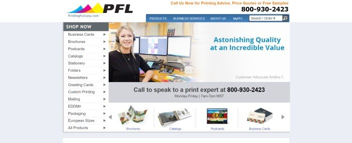 This screenshot of the home page for PrintingForLess has a white header, a blue navigation bar, a white column along the left side of the page showing product categories, a photo in the main section showing a smiling blonde woman in a black shirt and a headset sitting in front of a computer monitor, and a gray announcement section with black text inviting customers to call a print expert to ask questions.