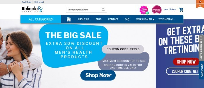 This screenshot of the home page for ReliableRxPharmacy has a white and gray header, a blue navigation bar with white lettering, and a photo of a man and woman hugging and smiling at each other next to a large advertisement in shades of blues and grays with white text announcing a sale on men's health products.
