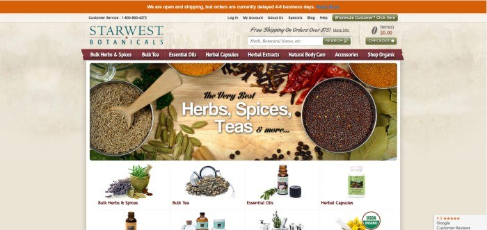 This screenshot of the home page of Starwest Botanicals includes a orange header above a beige background, a maroon shopping navigation bar, and a main section with a white background, a large overhead photo showing various bulk herbs in tin canisters or lying loose on a wooden table, and rows of smaller photos showing individual products for sale, including a mortar and pestle, bulk tea, essential oils, and herbal capsule