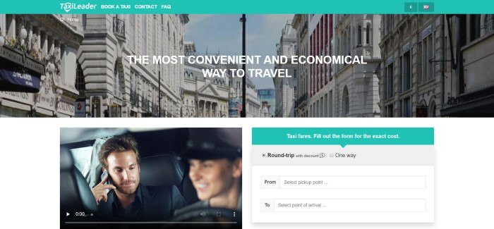 This screenshot of the home page for TaxiLeader has an aqua navigation bar with white text above a photo of a European street, behind white text announcing the best way to travel, and a lower section with a photo of a man in a taxi on the left side of the page and a search section on the right side of the page.