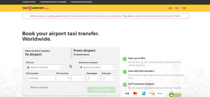 This screenshot of the home page for Taxi2Airport has a black and yellow header, a red and white announcement section, a white background with black text, and a gray search section for looking up possible taxi bookings, along with a green call to action button.