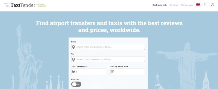 This screenshot of the home page for TaxiTender has a white header and navigation bar above a blue background with white iconic travel images such as the Statue of Liberty, along with white text and a gray search bar for taxi bookings.