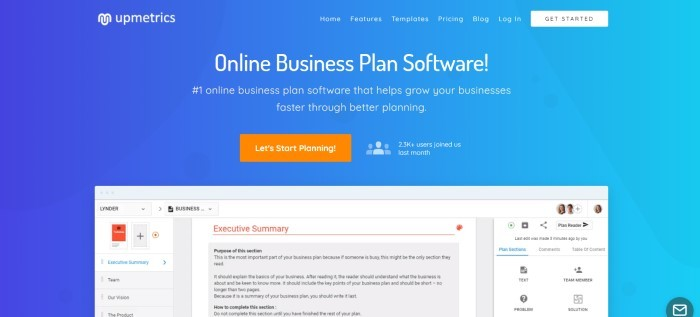 This screenshot of the home page for Upmetrics has a blue background with white text announcing online business plans software, along with an orange call to action button and a white screenshot on the lower edge of the page showing how the software works to create an executive summary.