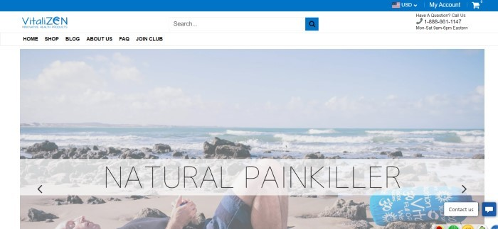 This screenshot of the home page for Vitalzen Health has a blue header, a white navigation bar and background, and a large photo of a man in blue shorts and a black shirt relaxing on an acupressure mat at a beach, along with black text announcing a natural painkiller.