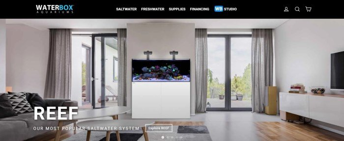 This screenshot of the home page for Waterbox Aquariums has a black navigation bar with white and blue text above a large photo of a living room with gray furniture, light gray walls and drapes by walk-out doors, a hardwood floor, and an enormous reef aquarium, along with white text announcing the reef aquarium system.