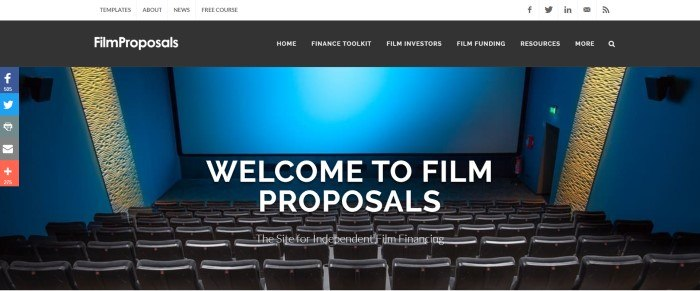 This screenshot of the home page for Film Proposals has a black header with white text above a blue lit screen in an empty movie theater, with white text inviting customers to Film Proposals.