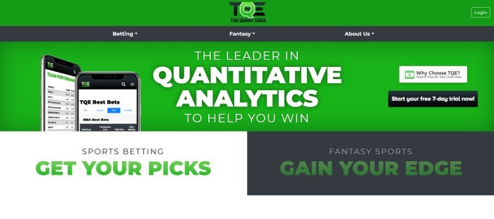 This screenshot of the home page for The Quant Edge has a bright green header and background with a black navigation bar, a photo showing screens from the Quant Edge app on mobile devices, white text, a black call to action button, and a white text section with green and black text on the left side of the page and a black text section with white and green text on the right side of the page.