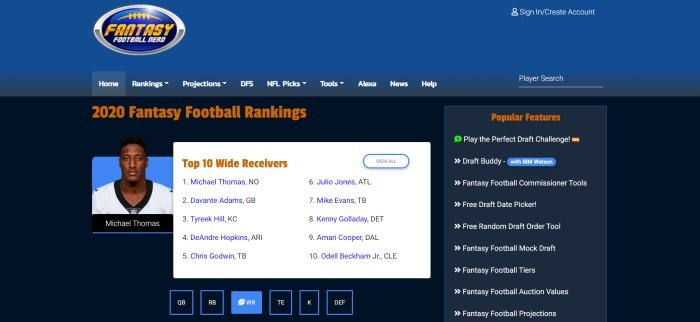 This screenshot of the home page for Fantasy Football Nerd has a dark blue header with a blue and white navigation bar above a black main section with a photo of a player on the left side of the page, a white text section with orange and blue text in the center of the page announcing the top 10 wide receivers, and a black text section with white text on the right side of the page announcing popular features.