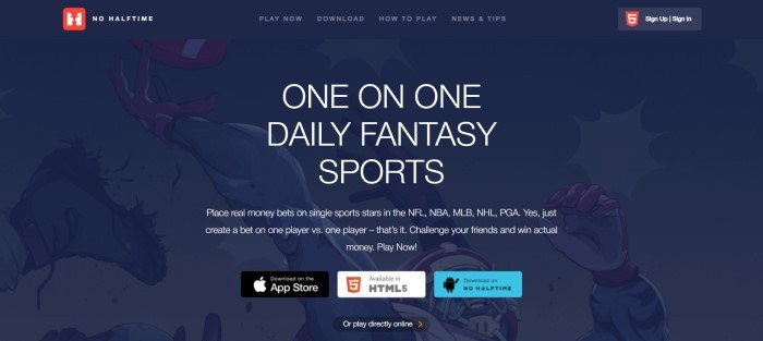This screenshot of the home page for No Halftime Sports has a dark blue background with white text, above some download buttons.