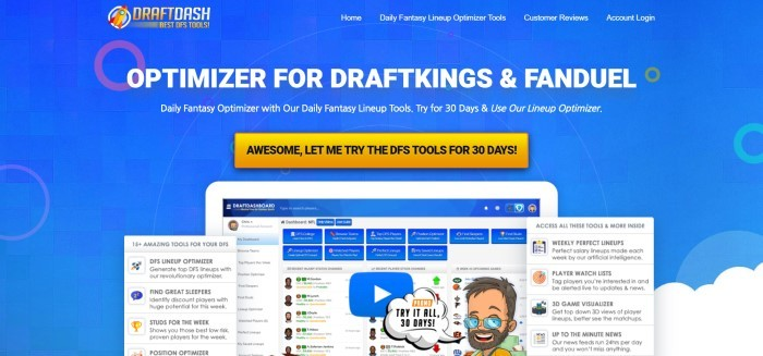 This screenshot of the home page for Draft Dash has a blue background with white text and an orange call to action button above an image of draft dashboard open on a screen, with inserts showing the 15 tools and how to use them.