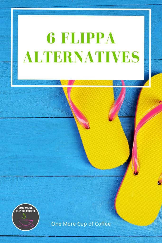 blue wood background with bright yellow flip flops and green text title,