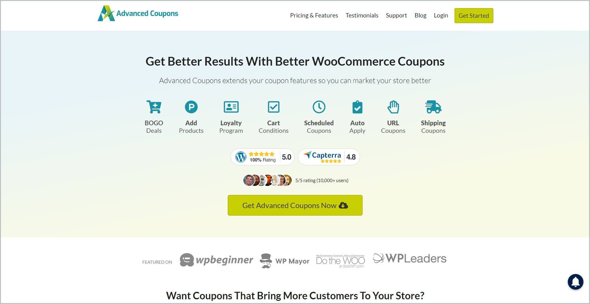 screenshot of Advanced Coupons homepage, with white header bearing the website's name and main navigation menu