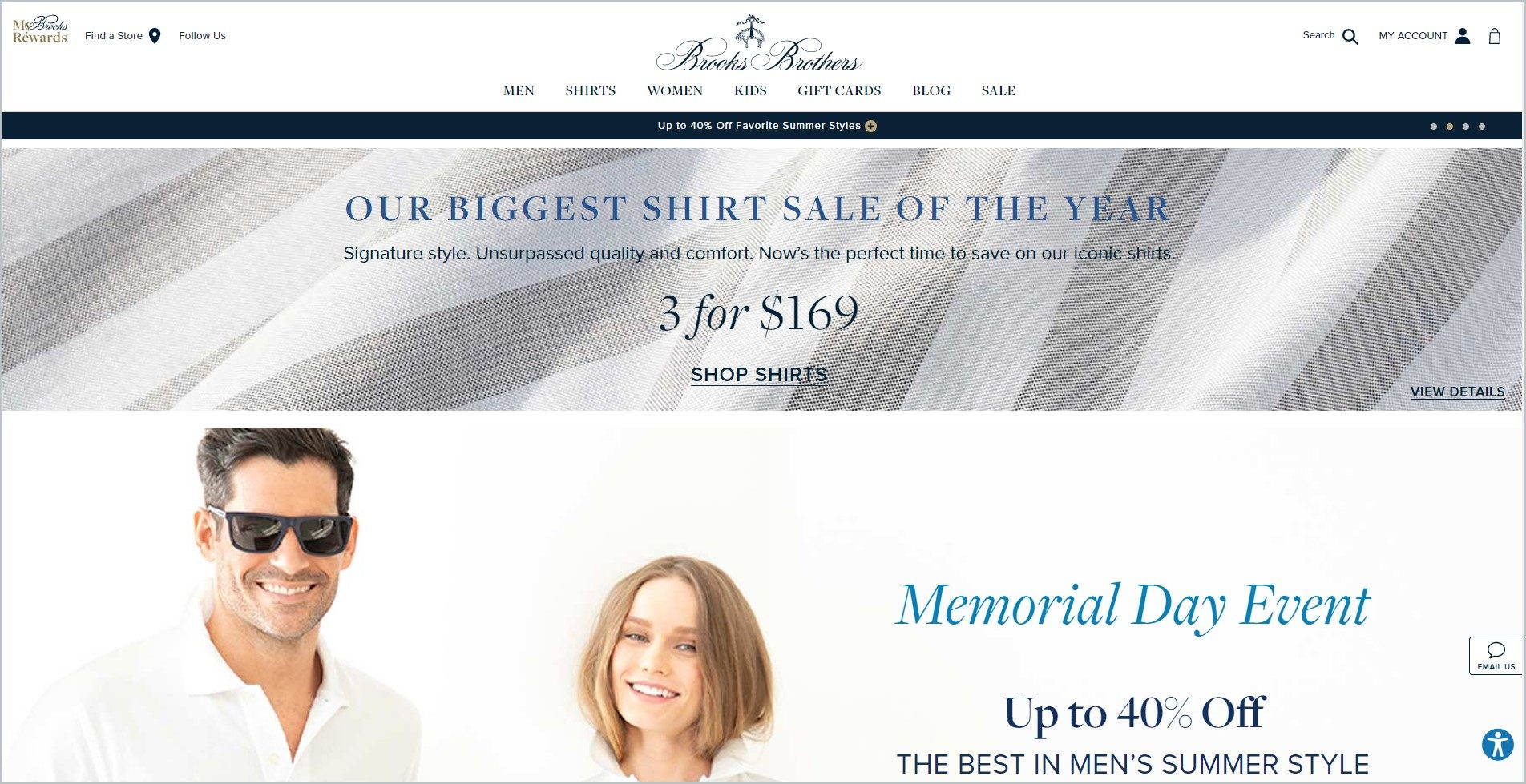 screenshot of Brooks Brothers homepage with a male and female model for main image