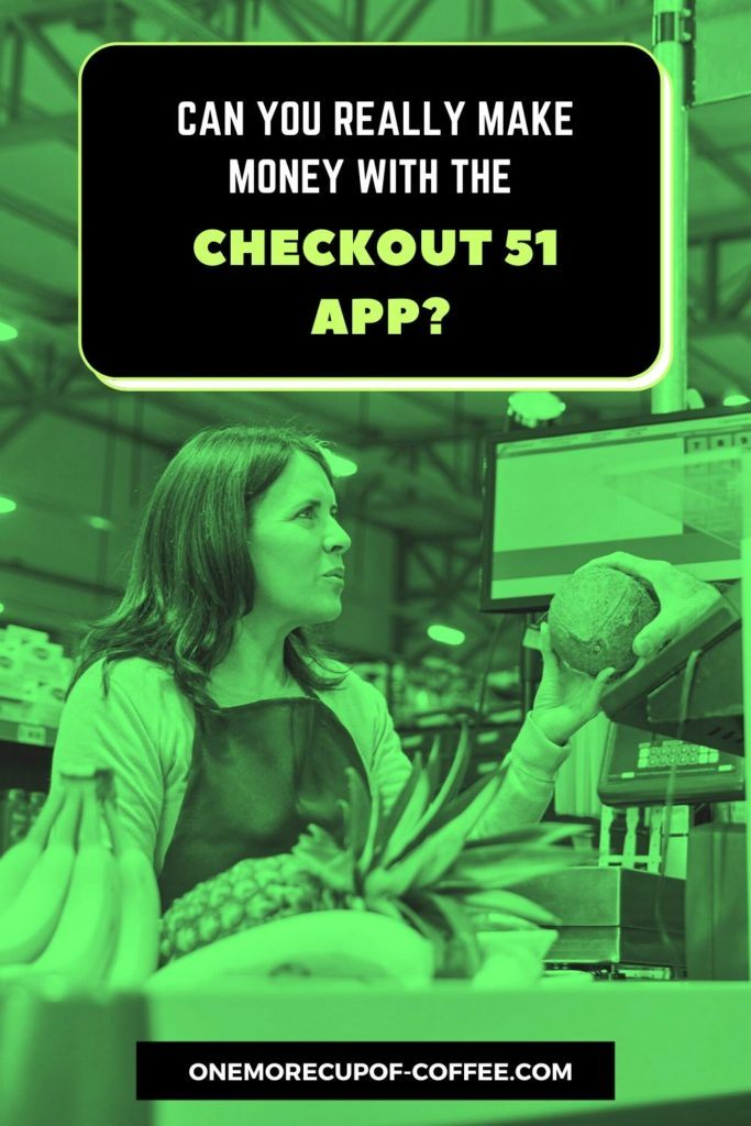 image in green tint of a woman paying at the cash register with text overlay,