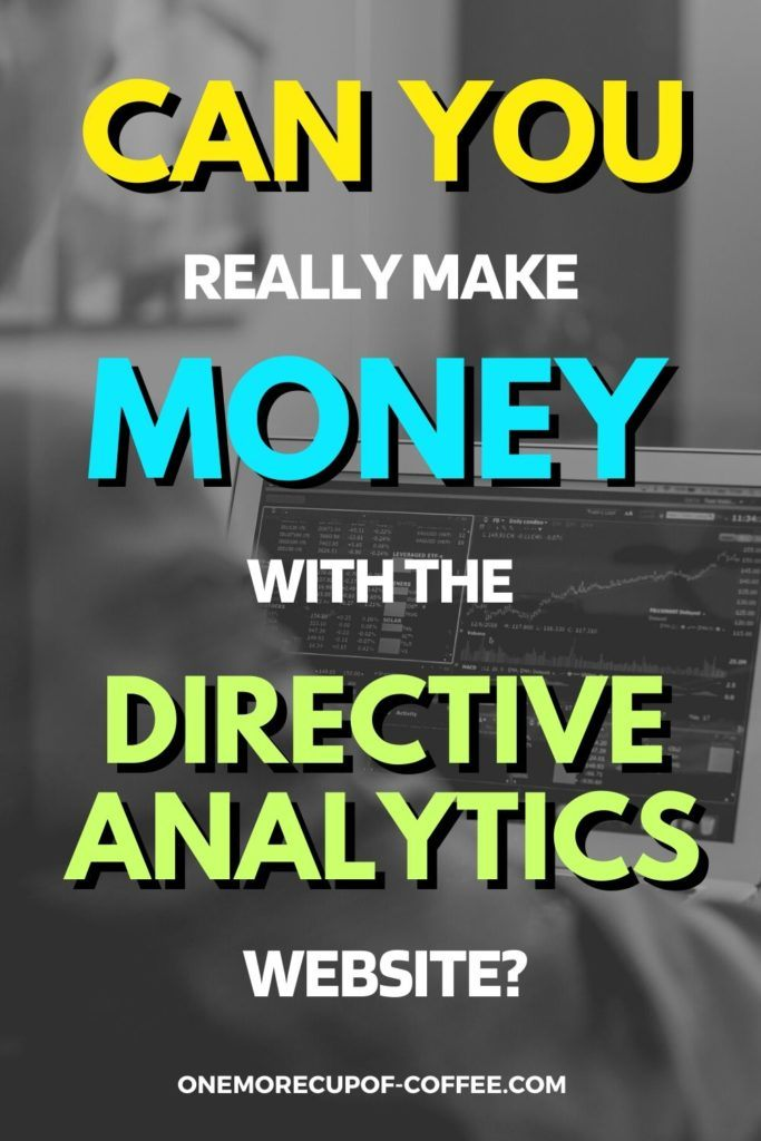 """black and white image of man in suit on his laptop, with text overlay """"Can You Really Make Money With The Directive Analytics Website"""""""