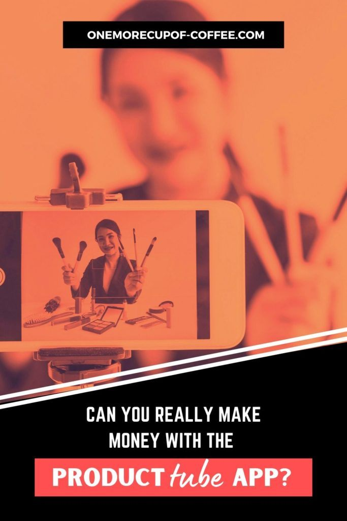 background image in orange tint of woman recording video of product review, with text at the bottom