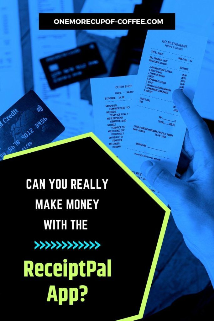 Bluish background with hand holding receipts and credit cards, with text overlay