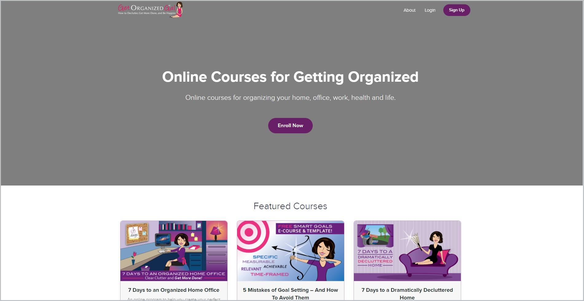 screenshot of Get Organized Gal homepage, with grey header with the website's name and main navigation menu, it showcases some of the online courses they offer