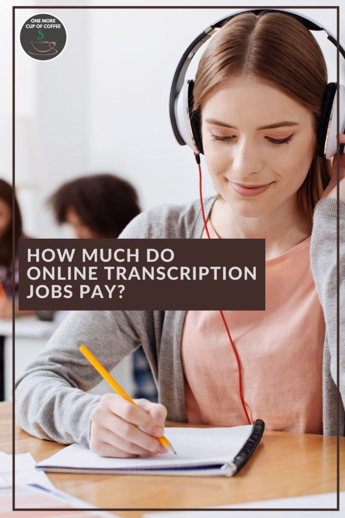 """woman in peach blouse and grey cardigan transcribing while listening to headphone, with text overlay """"How Much Do Online Transcription Jobs Pay?"""""""