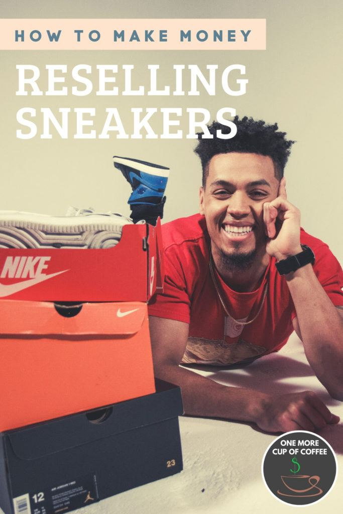 man in red t-shirt surrounded with box of sneaker with text on top,