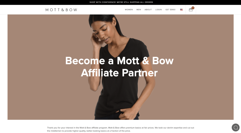 screenshot of the affiliate sign up page for Mott & Bow