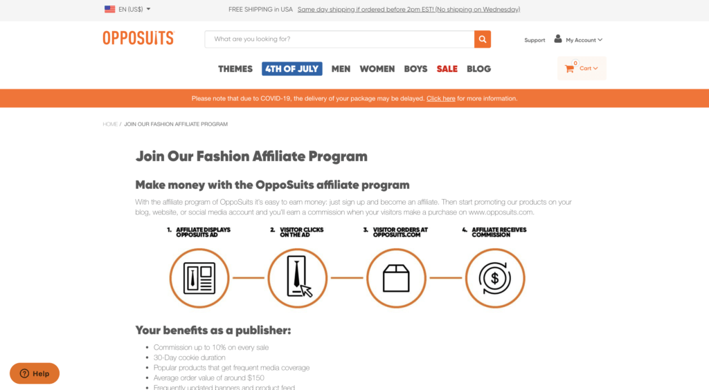 screenshot of the affiliate sign up page for OppoSuits