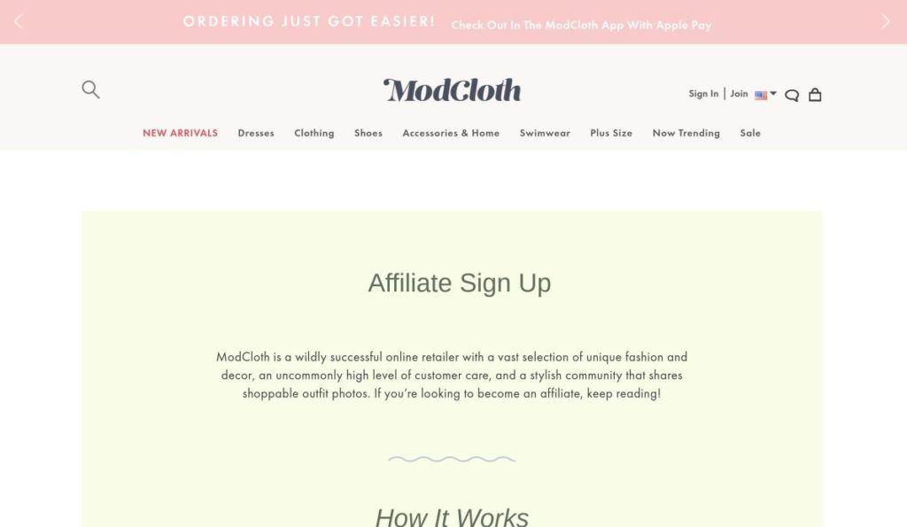 modcloth affiliate sign up screenshot