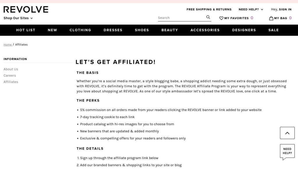 revolve affiliate program signup screenshot