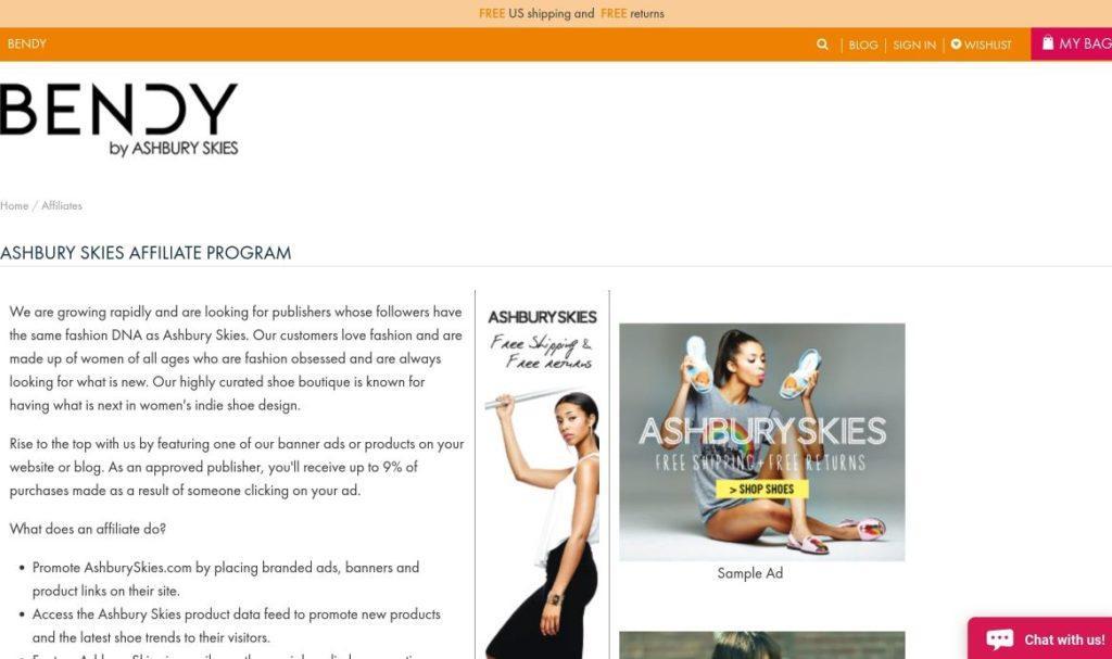 bendy ashbury skies affiliate program signup screenshot