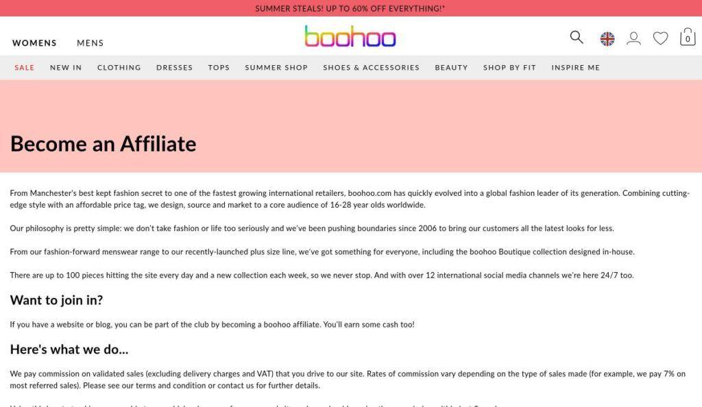 boohoo affiliate program signup screenshot