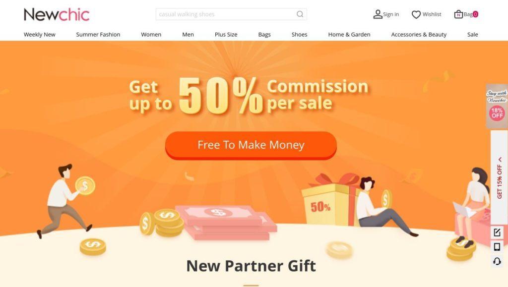 newchic affiliate partner signup screenshot