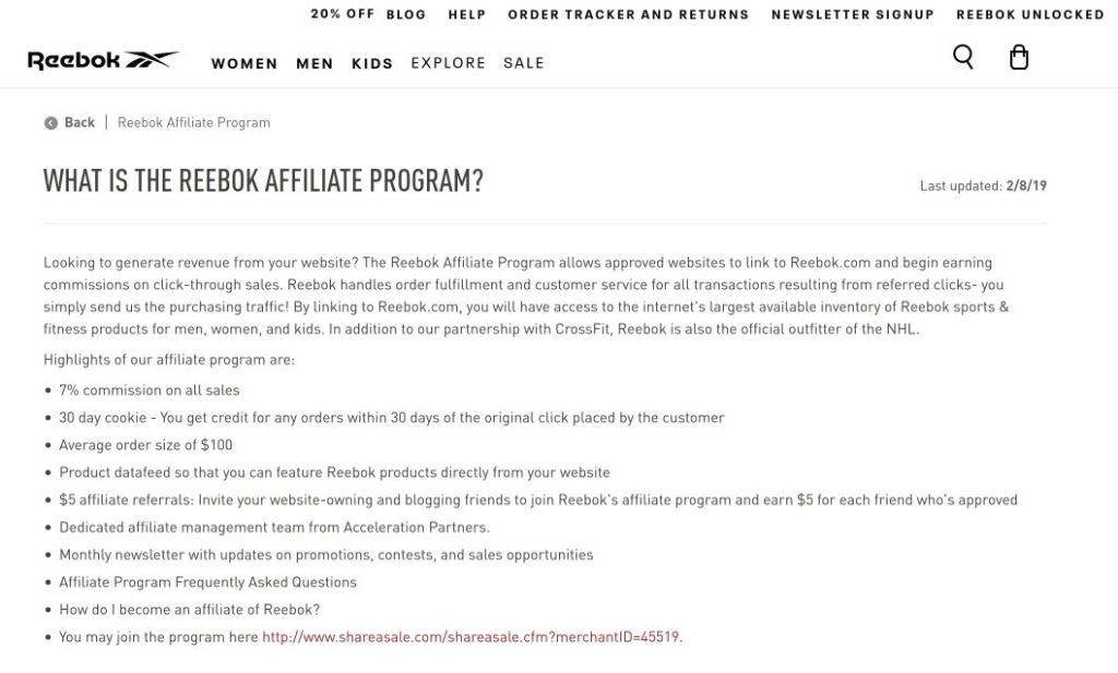 reebok affiliate program signup screenshot