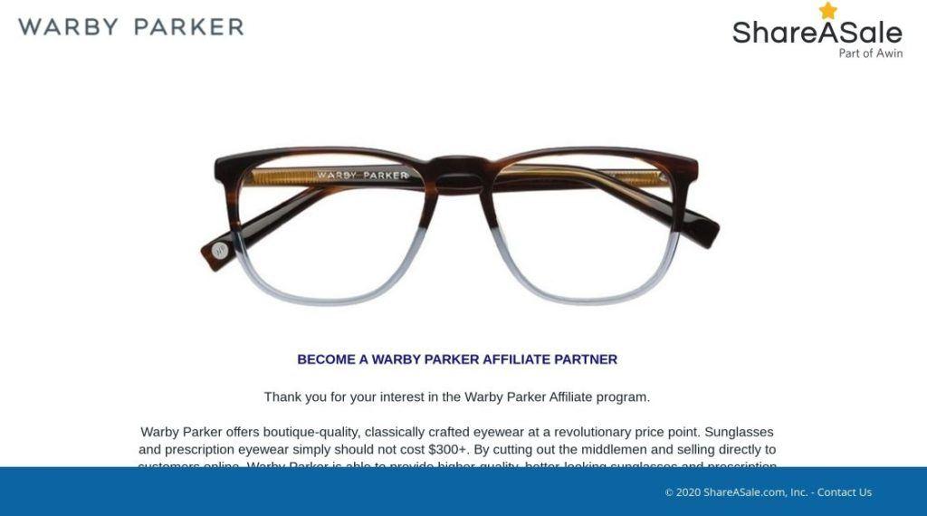 warby parker affiliate partner shareasale screenshot