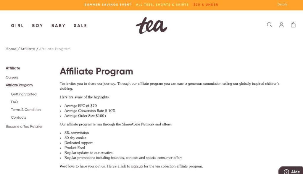tea collection affiliate program screenshot