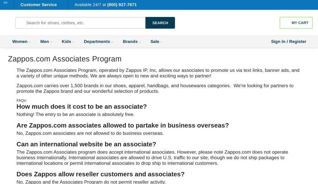 zappos.com associates program signup screenshot